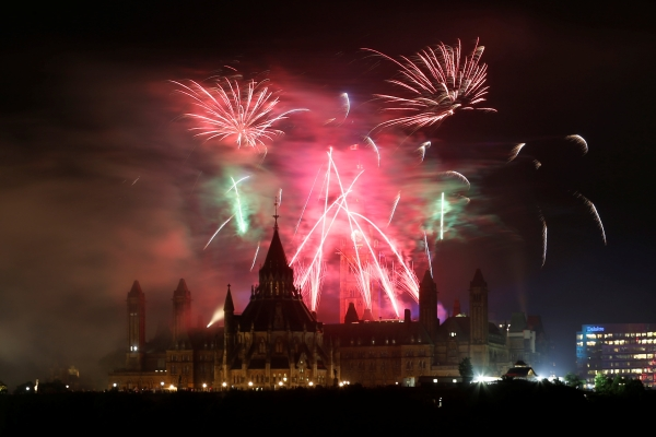 Fireworks explode over Ottawa's Parliament Hill as part of Canada Day celebrations as the country marks its 150th anniversary since confederation, in Gatineau, Quebec, Canada, on Saturday. — Reuters