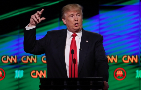 Republican US presidential candidate Donald Trump speaks at the Republican US presidential candidates debate sponsored by CNN at the University of Miami in Miami, Florida, in this March 10, 2016 file photo. — Reuters
