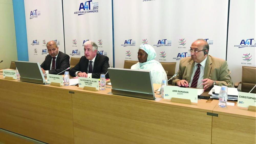 Hani Salem Sonbol, CEO of the International Islamic Trade Finance Corporation (ITFC),  Mrs. Aja Fatoumatta Jallow Tambajang, vice president of Gambia, along with other officials at the WTO's Aid for Trade Global Review 2017 in Geneva. — Courtesy photo
