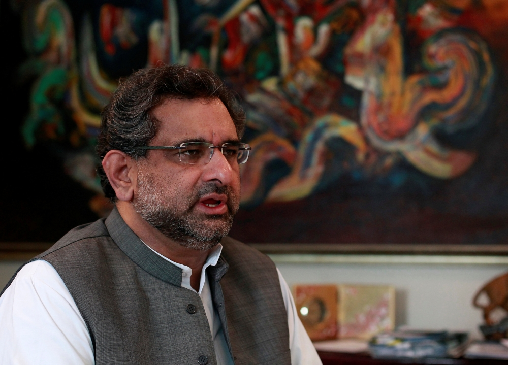 Pakistan's Petroleum and Natural Resources Shahid Khaqan Abbasi speaks during an interview with Reuters at his office in Islamabad in this file photo. — Reuters