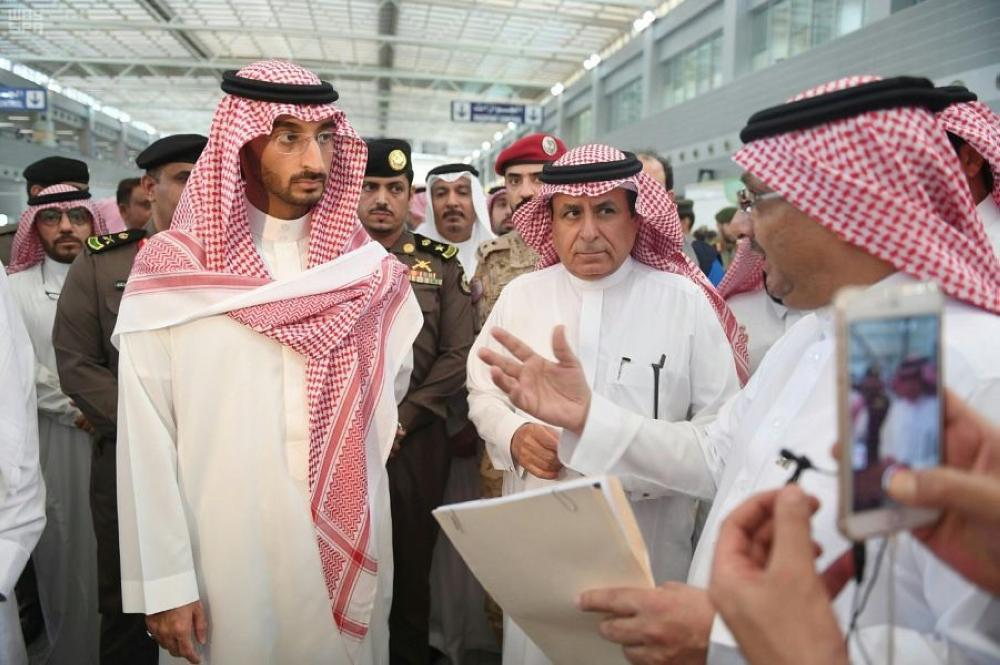 An official briefs Prince Abdullah Bin Bandar, deputy emir of Makkah region, on the arrangements at the Haj terminal of Jeddah airport. Sulaiman Al-Hamdan, minister of transport and president of General Authority of Civil Aviation, was also present. — Courtesy photo