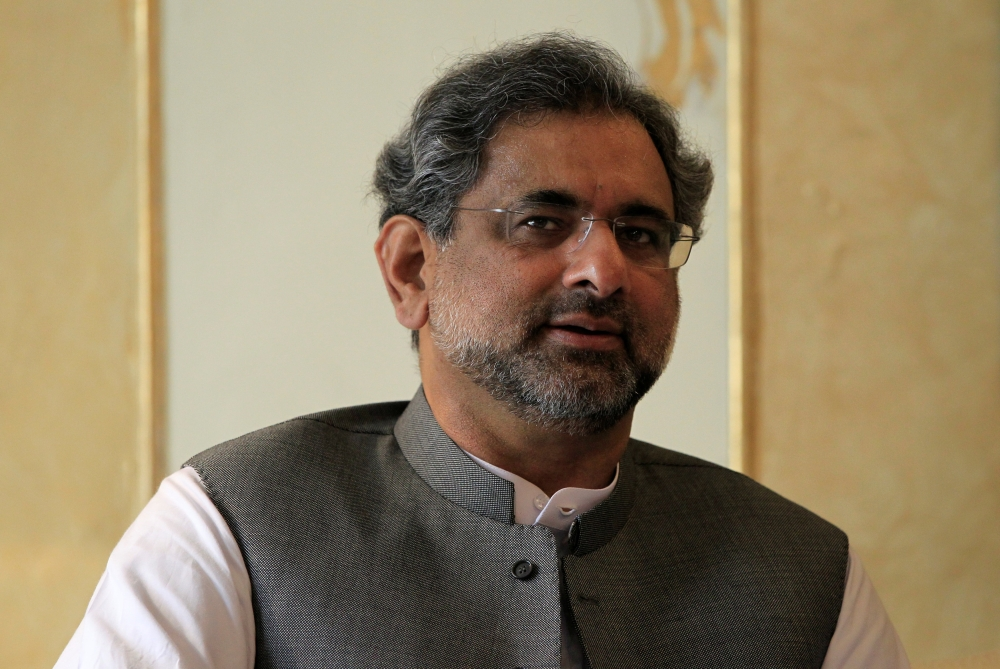Pakistani Prime Minister Shahid Khaqan Abbasi speaks during a meeting in Islamabad on Wednesday. — Reuters