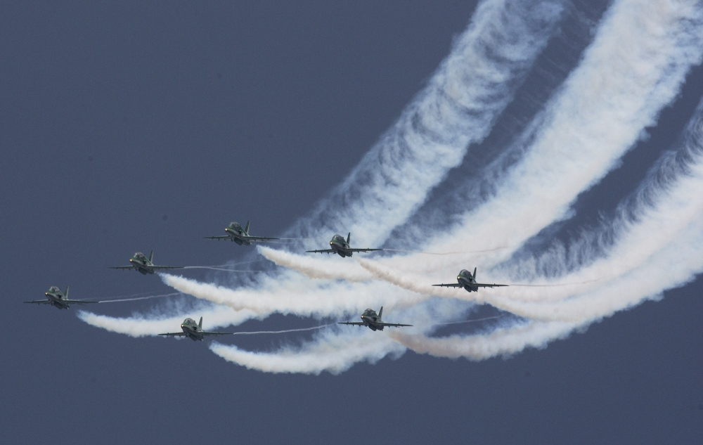 Pakistan air force pilots demonstrate their skill during an air show to celebrate the 70th Independence Day in Islamabad on Monday. — AP