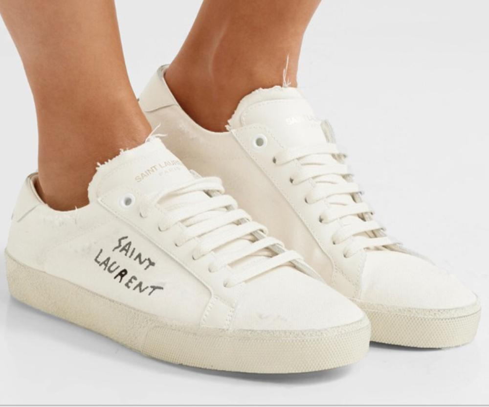 Saint Laurent- court classic leather-trimmed distressed cotton sneakers (SR 1617)