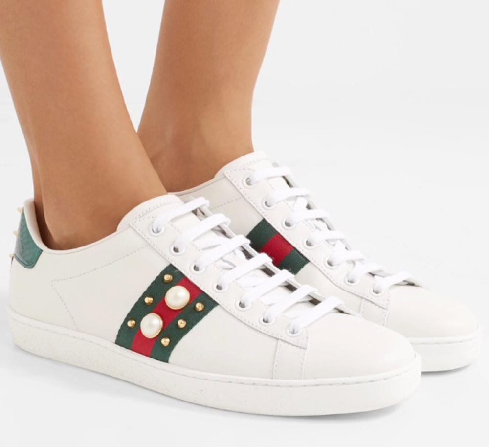 Gucci ace metallic ayers-trimmed embellished leather sneakers (SR 1982)