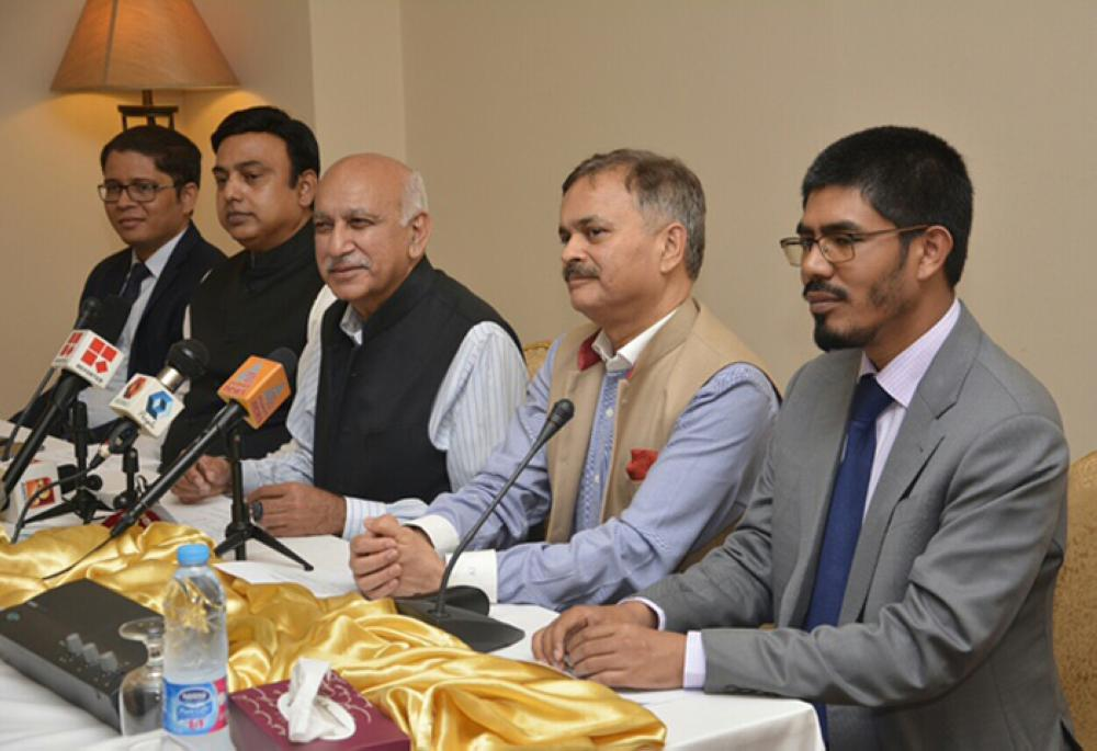 India's Minister of State for External Affairs and Head of Haj goodwill delegation M.J. Akbar addressing a press conference in Makkah on Saturday. Syed Zafar Islam, deputy leader of the delegation, Ambassador Ahmad Javed, Consul General Md. Noor Rahman Sheikh and Haj Consul Mohammed Shahid Alam are also seen. — courtesy photo