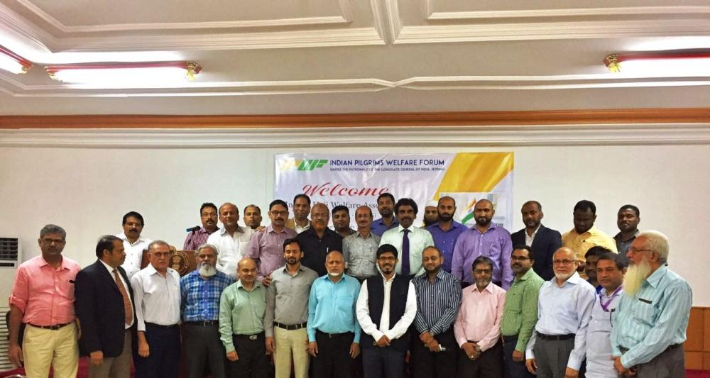 Indian Consul General Mohammed Noor Rahman Sheikh attends a meeting of leaders of Indian organizations to review the voluntary services rendered to the pilgrims during the last Haj. — Courtesy photo