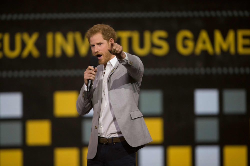 Prince Harry speaks during the closing ceremony for the Invictus Games in Toronto, Ontario on Saturday. - AFP