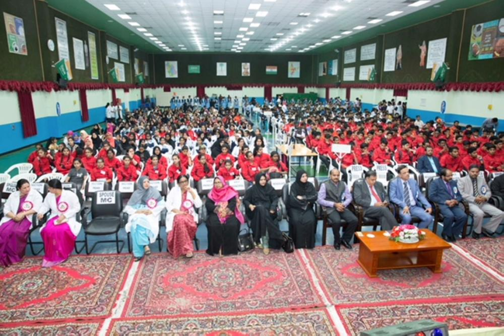 Chief guest Dr. Suhail Ajaz Khan, Deputy Chief of Mission, Embassy of India, Riyadh, Dr. Hifzur Rahman, first secretary and observer of Indian schools in the Kingdom, IISD faculty and community members at the prize distribution event of the cluster meet.