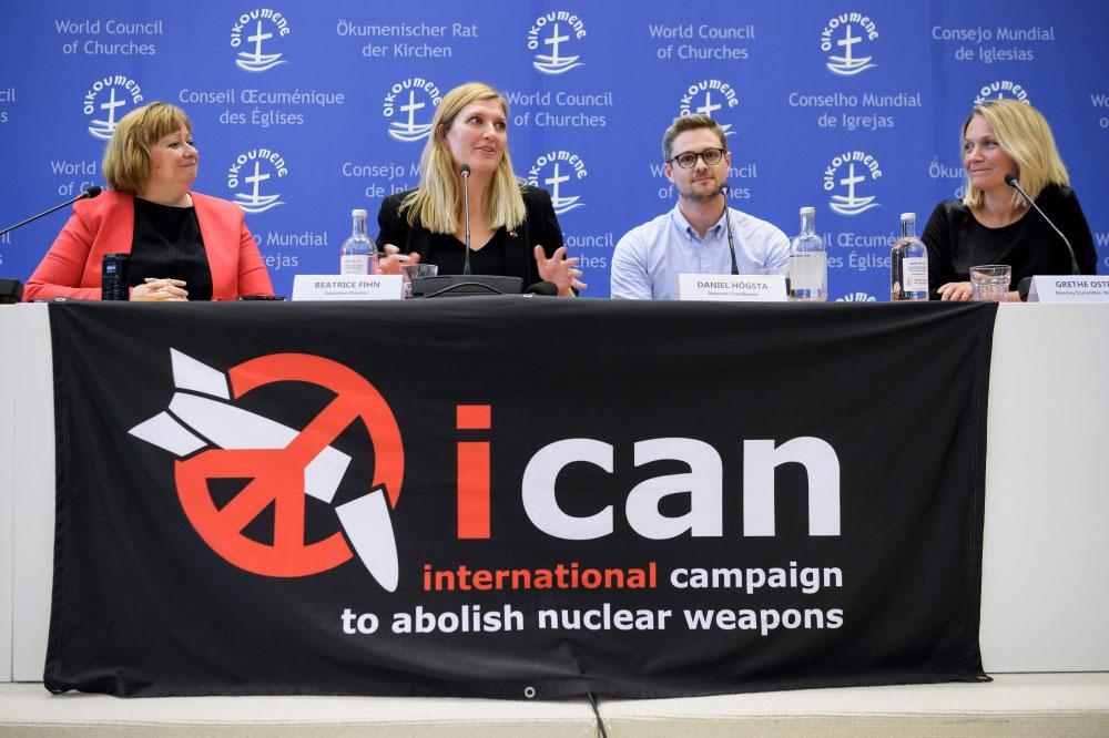 (From L) World Council of Churches (WCC) spokeswoman Marianne Ejdersten, Nuclear disarmament group International Campaign to Abolish Nuclear Weapons (ICAN) executive director Beatrice Fihn, ICAN coordinator Daniel Hogstan and ICAN member of the steering committee Grethe Ostern attend a press conference after ICAN won the Nobel Peace Prize for its decade-long campaign to rid the world of the atomic bomb as nuclear-fuelled crises swirl over North Korea and Iran, on October 6, 2017 in Geneva. — AFP