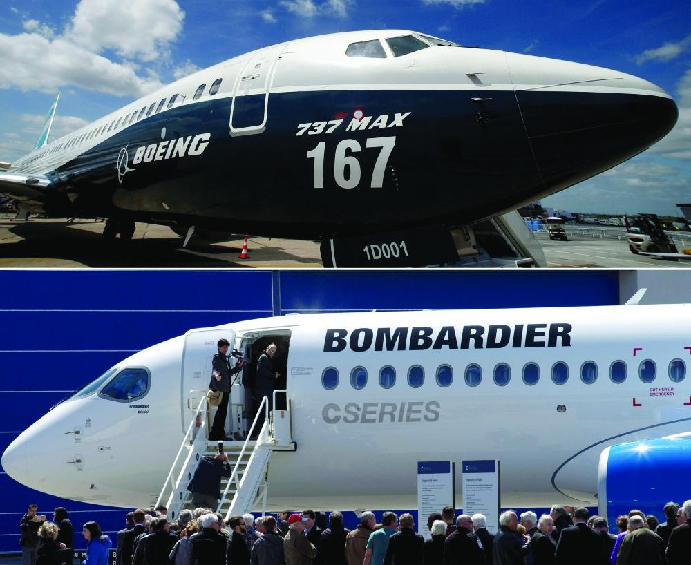 A combination photo of a Boeing 737 MAX before the opening of the 52nd Paris Air Show at Le Bourget airport near Paris
