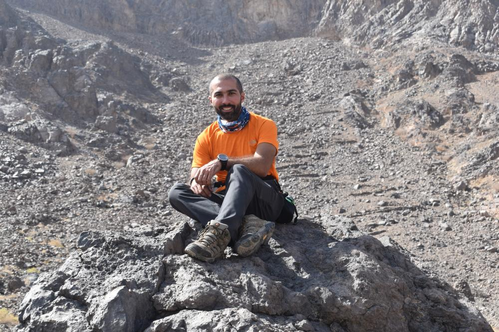Amr Khalifa one of the founders of Qimmam club inside the Wahba Crater during the recent hiking trip.
