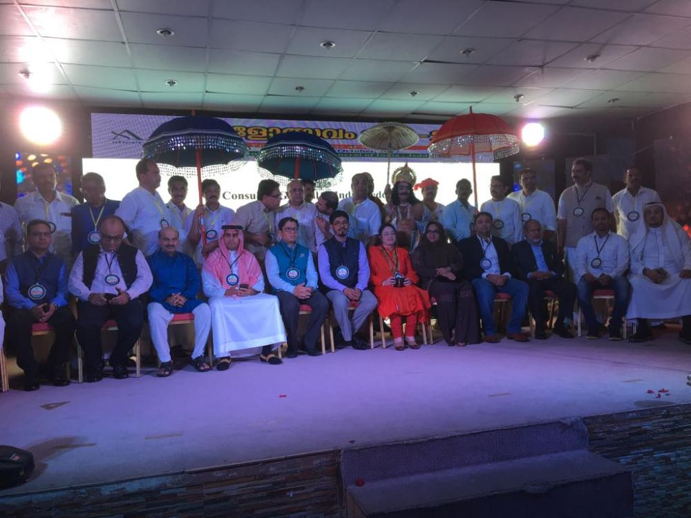 Indian Consul General Mohammed Noor Rahman Sheikh with consuls, Indian community leaders and performers at the Kerala Festival.