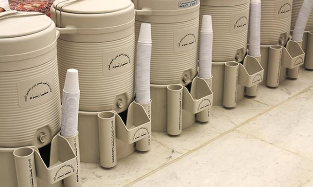 Containers filled with Zamzam water is kept for pilgrims and visitors to the Grand Mosque in Makkah and Prophet's Mosque in Madina.
