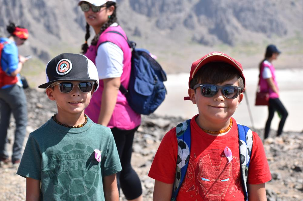 Yasmin Gahtani's children Laith and Faris during the hiking trip at Wahba Crater.