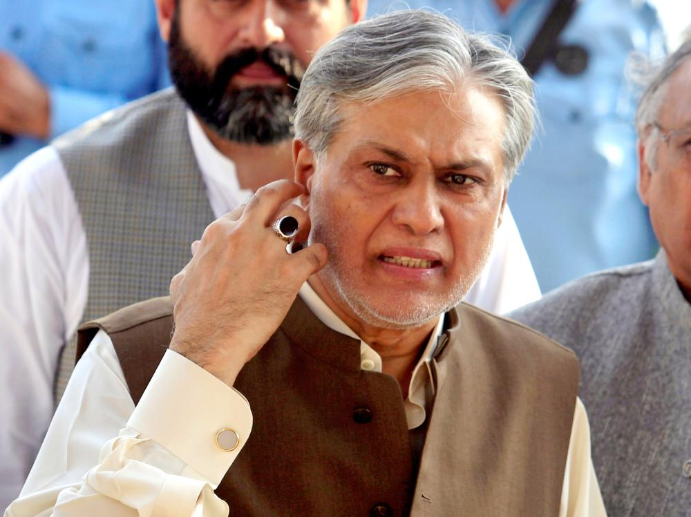 Pakistan's Finance Minister Ishaq Dar is seen after a party meeting in Islamabad, Pakistan, in this Sept. 26, 2017 file photo. — Reuters