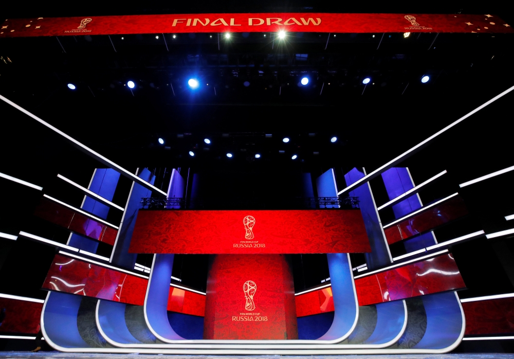 Stage is seen on the eve of the Final Draw for the 2018 FIFA World Cup in Moscow, Russia, on Thursday. — Reuters
