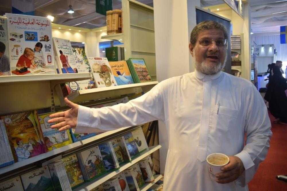 Book lover Dr. Nabeel Hammad at one of the pavilions.