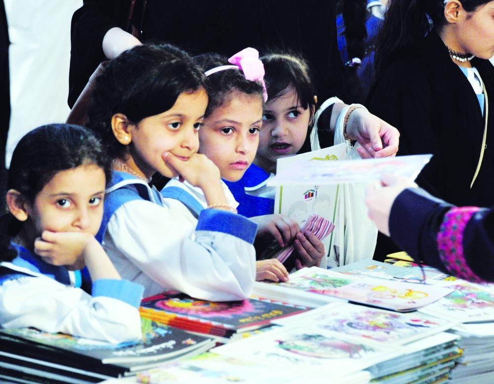 Children visiting the book fair.