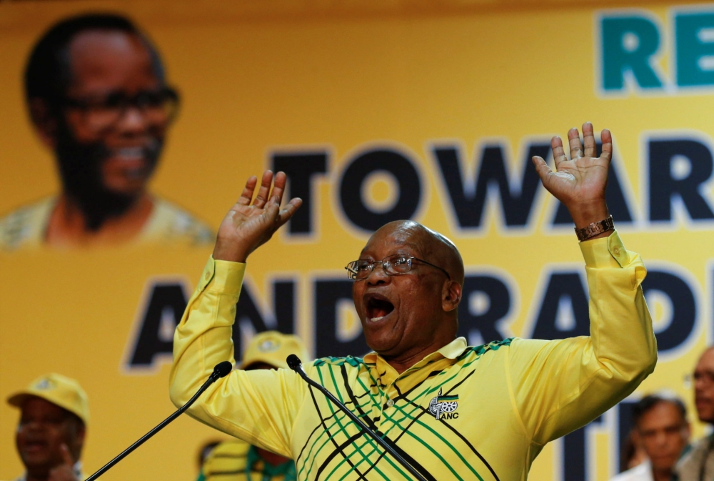 President of South Africa Jacob Zuma gestures during the 54th National Conference of the ruling African National Congress (ANC) at the Nasrec Expo Centre in Johannesburg, South Africa, in this Dec. 16, 2017 file photo. — Reuters