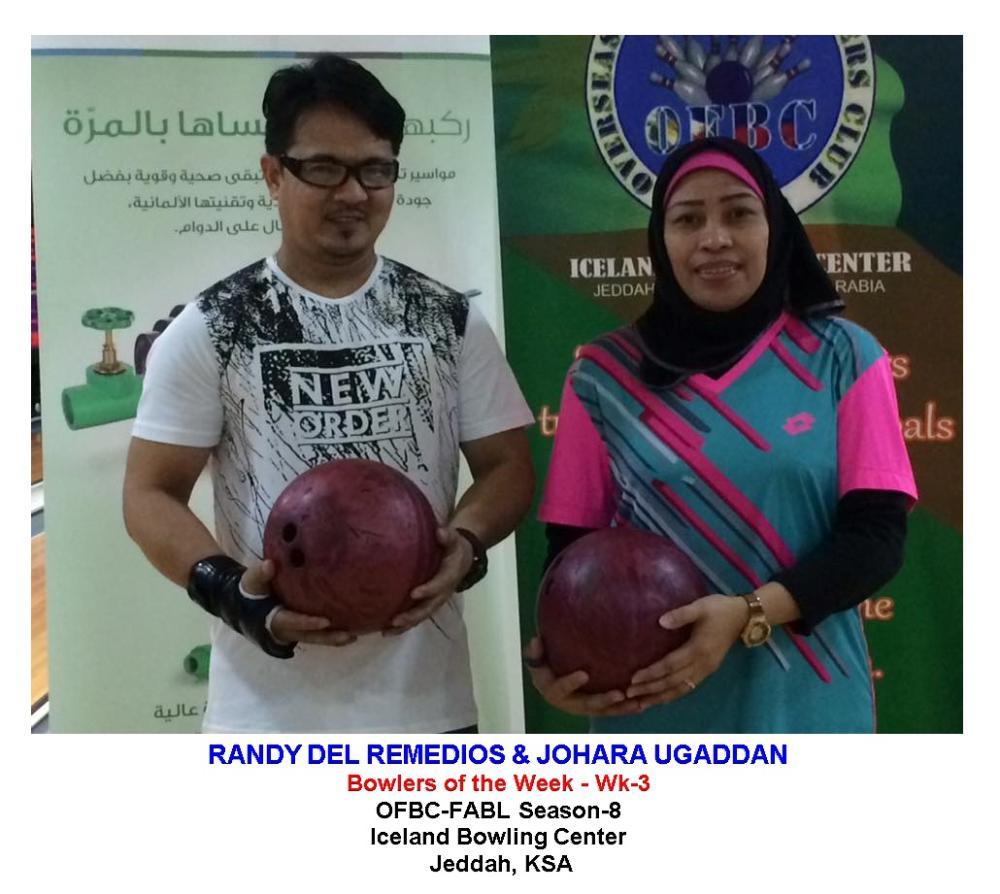 Bowlers of the Week Randy del Remedios and Johara Palot