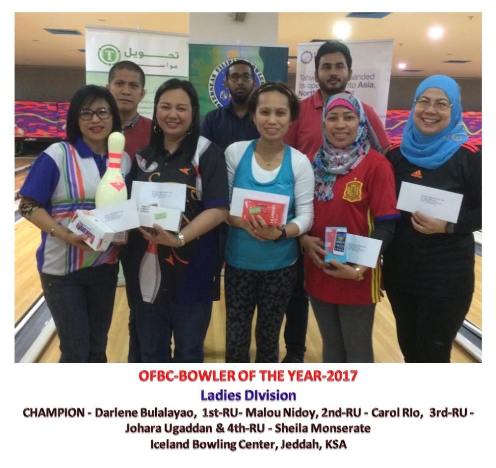 The ladies Bowler of the Year Finals winners with the sponsor representatives. (From L) Darlene Bulalayao, Malou Nidoy, Carol Rio, Johara Palot and Sheila Monserate.