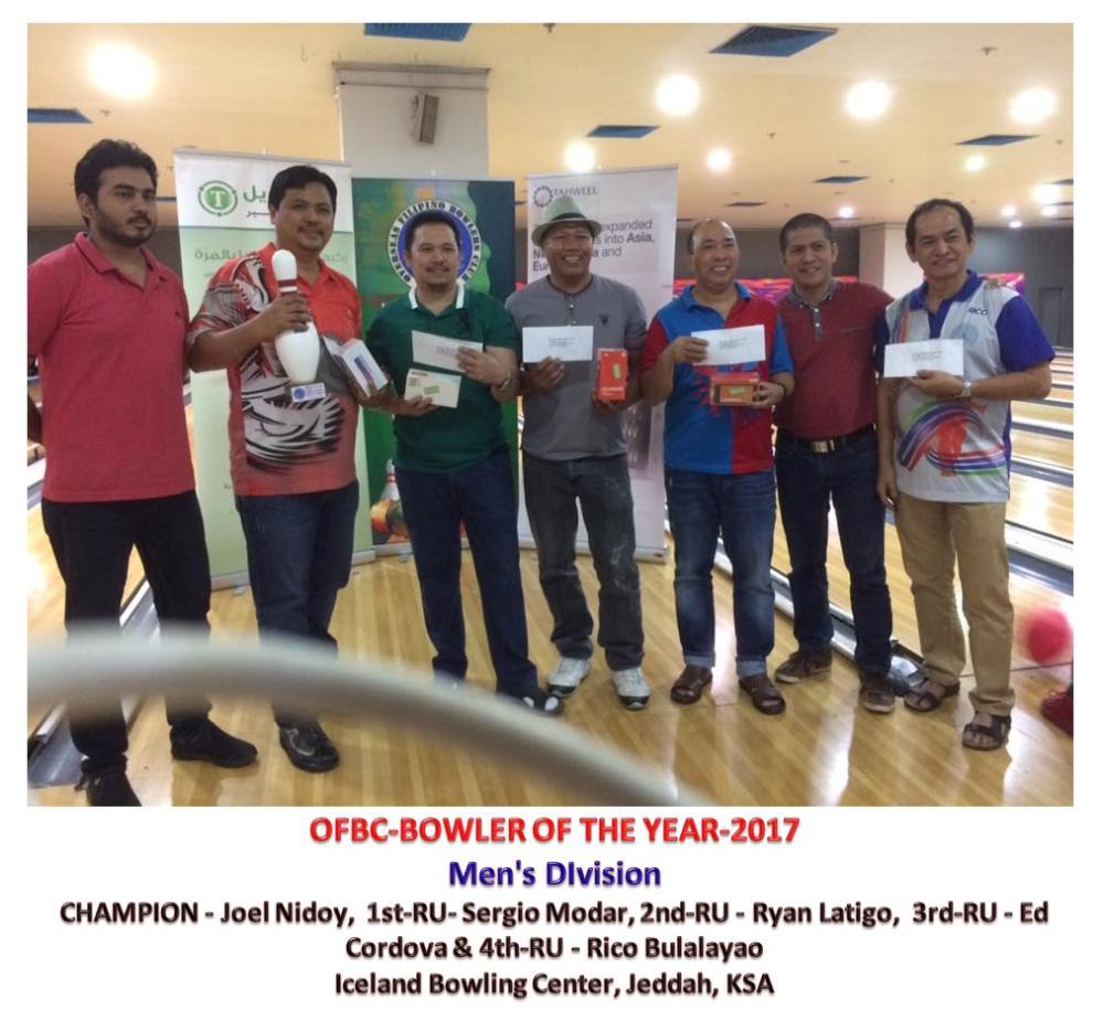 The men's Bowler of the Year Finals winners with their prizes. (From L) Joel Nidoy, Sergio Modar, Ryan Latigo, Ed Cordova and Rico Bulalayao.