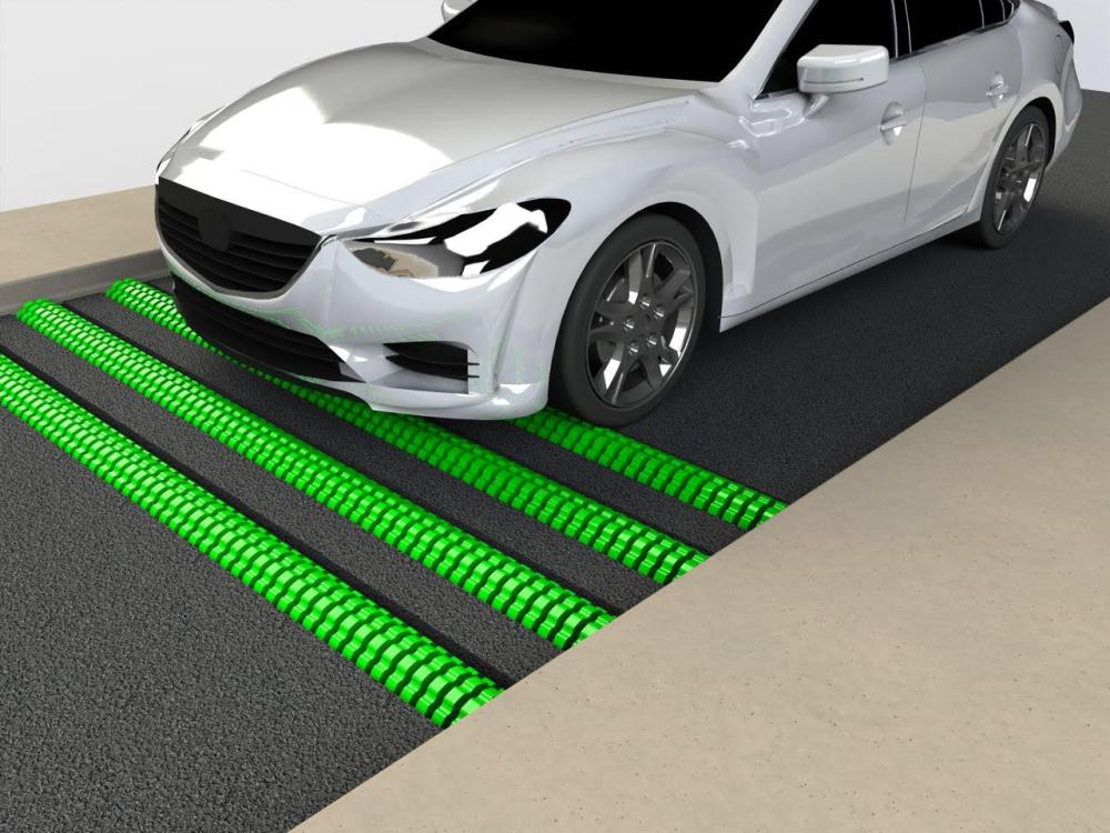 The design involves ramp-steps integrated in the pavement with turbines operating to harvest energy from car tires passing over them.