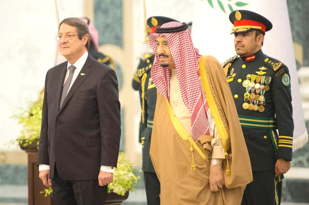 Custodian of the Two Holy Mosques King Salman receives President of Cyprus Nicos Anastasiades at Al-Yamamah Palace in Riyadh on Wednesday. — SPA