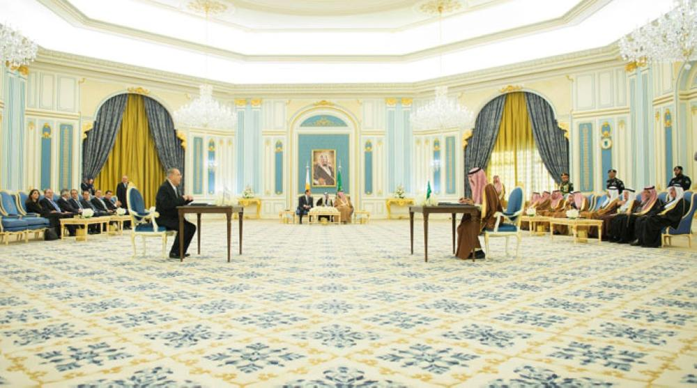Custodian of the Two Holy Mosques King Salman and President of Cyprus Nicos Anastasiades witness the signing of bilateral agreements at Al-Yamamah Palace in Riyadh on Wednesday. - SPA