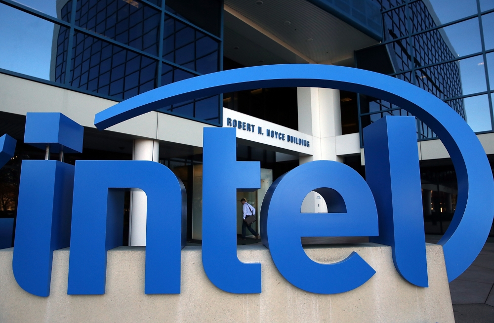 This file photo shows the Intel logo displayed outside of the Intel headquarters in Santa Clara, California.  — AFP