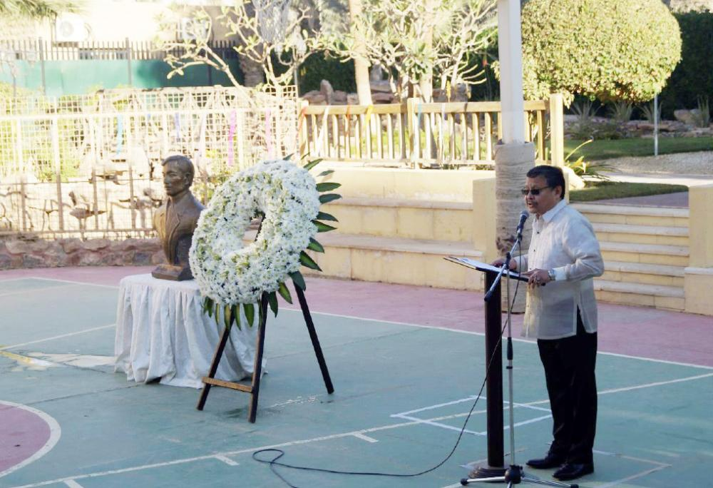 Ambassador Adnan V. Alonto reading the Message of President Rodrigo R. Duterte during the Rizal Day activity at the Philippine Embassy.