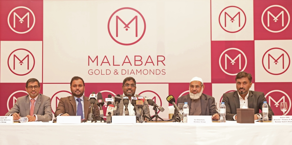 Left to Right: Abdul Salam KP, group executive director, Malabar Group, Shamlal Ahamed, managing director - international operations, Malabar Gold & Diamonds, MP Ahammed, chairman, Malabar Group, Dr. PA Ibrahim Haji, co-chairman, Malabar Group, Ameer CMC, director - finance & admin, Malabar Gold & Diamonds during the announcement of launching 200 showrooms globally at a press meet held in Dubai. — Courtesy photo