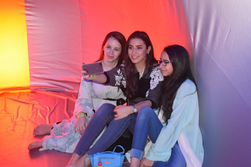 Saudi women having fun inside the Luminarium.