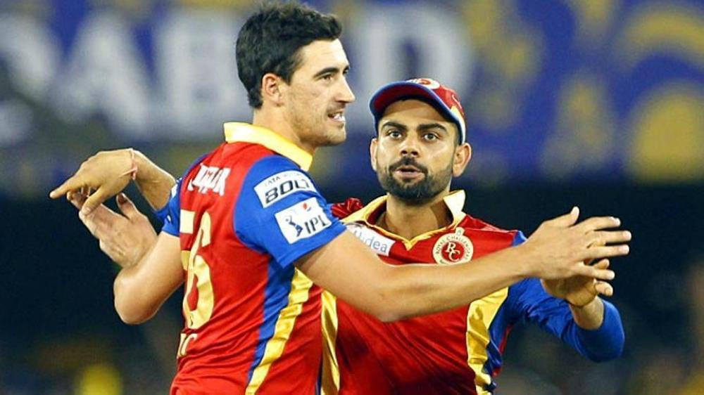 Michael Starc in Royal Challengers Bangalore colors.