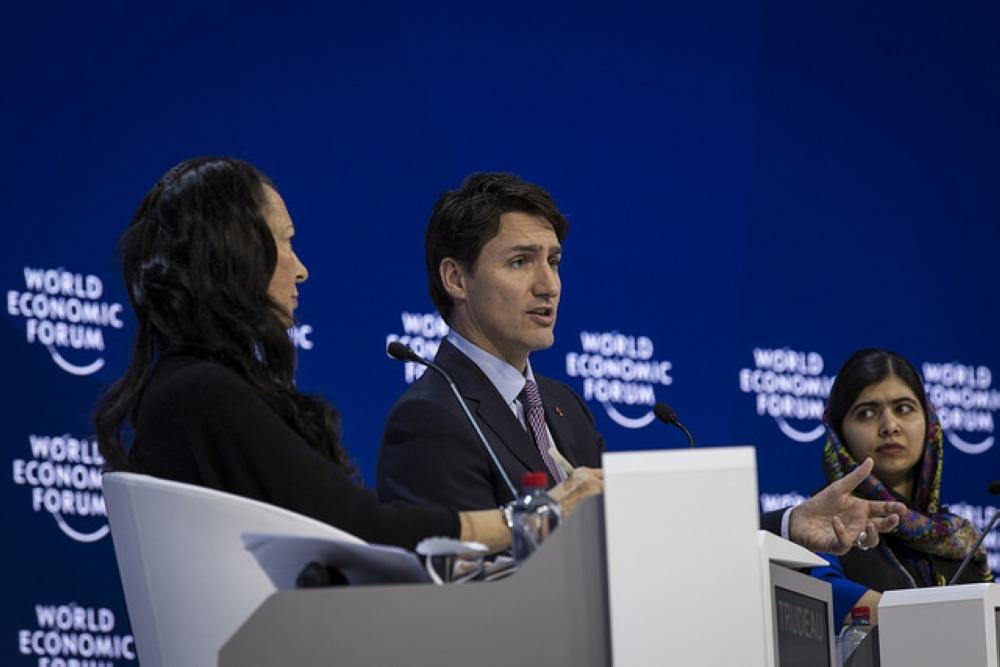 Orit Gadiesh, Chairman, Bain & Company, UK, Justin Trudeau, prime minister of Canada, Malala Yousafzai, girls' education activist and co-founder, Malala Fund, UK during the session