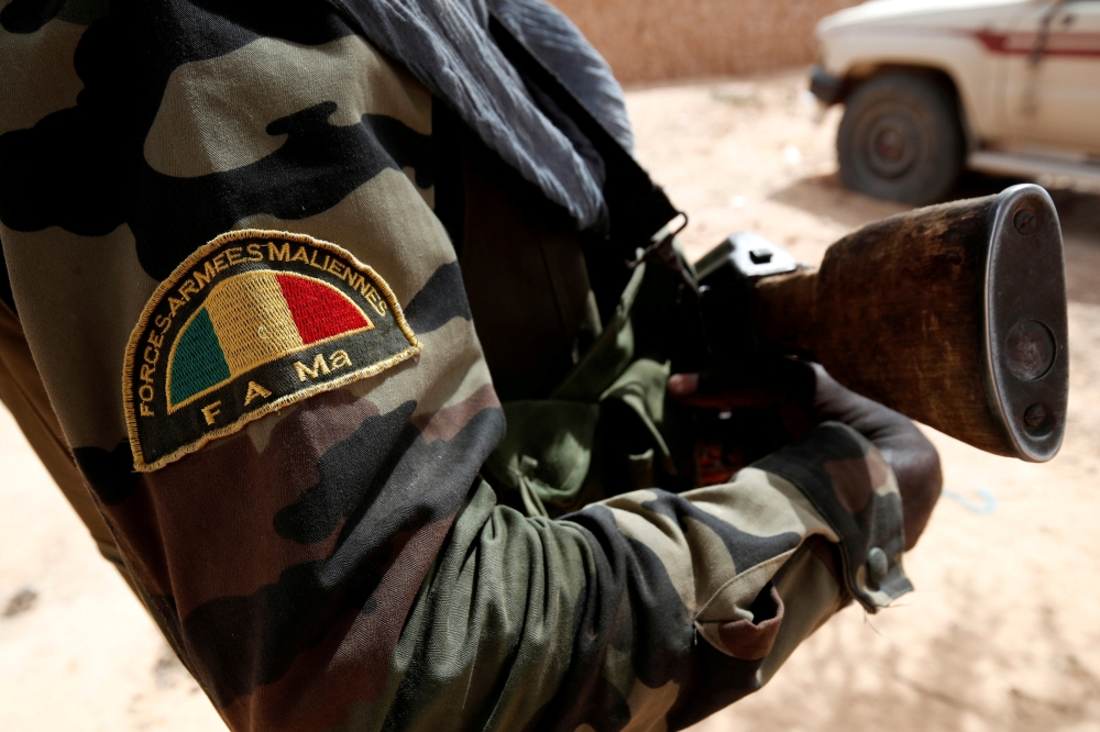 A Malian Armed Forces patch worn by a soldier is pictured during the regional anti-insurgent Operation Barkhane in Tin Hama, Mali, in this Oct. 19, 2017 file photo. — Reuters