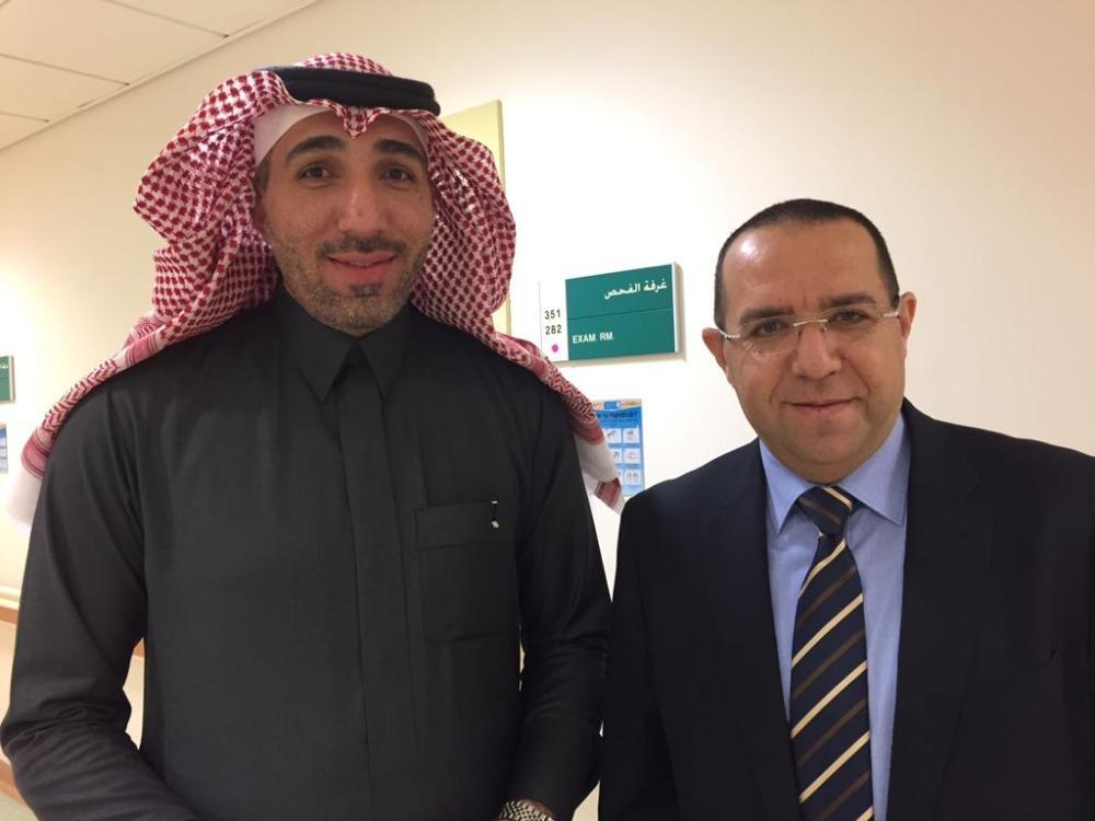 Dr. Tariq Alhawassi, manager of the CTU of the University Medical City, KSU (left), and Majdi Al-Tabbakh, medical director at AbbVie. — SG photo