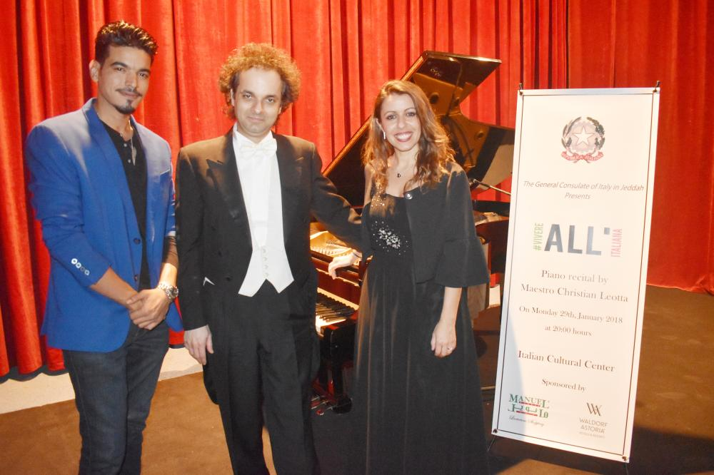Italian Consul General Elisabetta Martini alongside maestro Christian Leotta and Majed Mahdaly, a member of the audience.