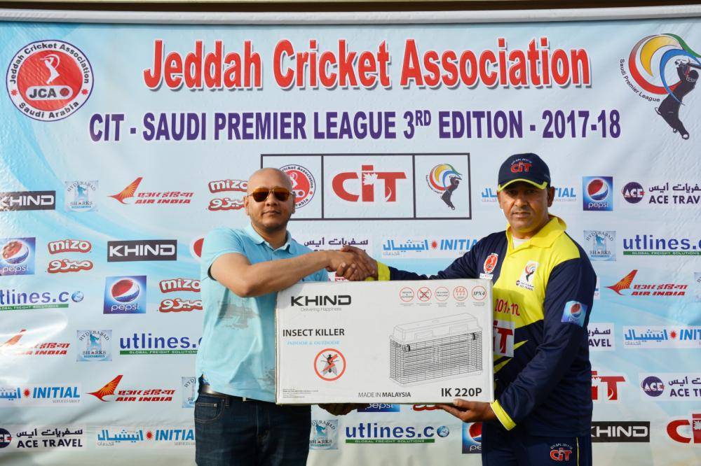 Man of the Match Khawar Sohail of Banswada Ball Burners