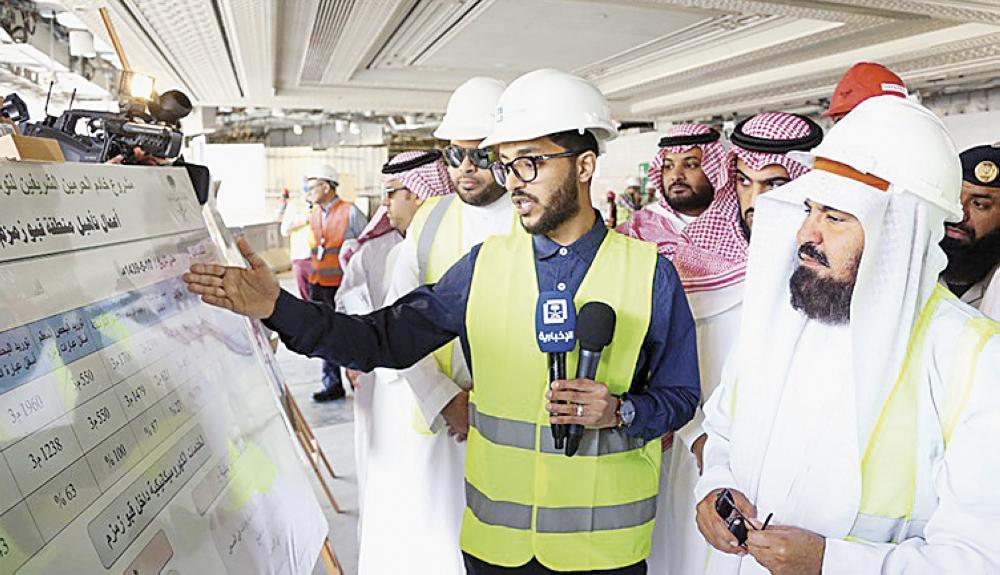 Head of the Presidency of the Two Holy Mosques Affairs Sheikh Abdul Rahman Al-Sudais visits the Zamzawater renovation project in Makkah.