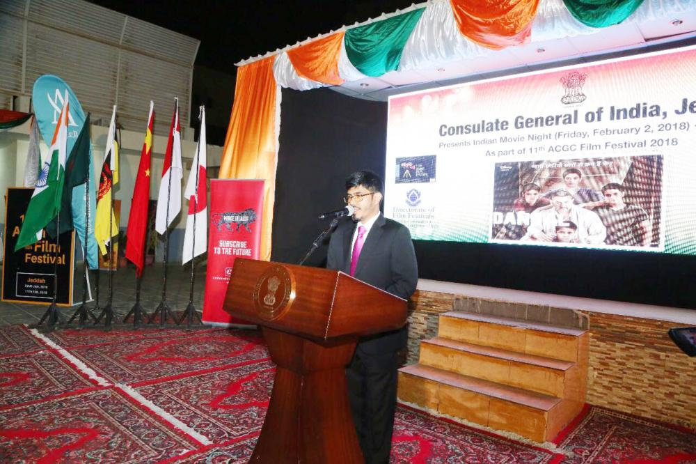 Indian Consul General Md. Noor Rahman Sheikh speaking before the screening of Dangal.  — Courtesy photos