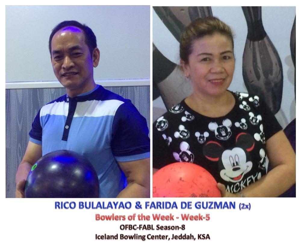 Bowlers of the Week Rico Bulalayao and Farida De Guzman