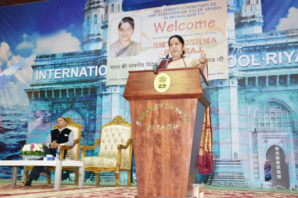 Indian External Affairs Minister Sushma Swaraj addressing the Indian community at the Indian International School Riyadh auditorium on Tuesday night.  — SG photos by  Mir Mohsin Ali