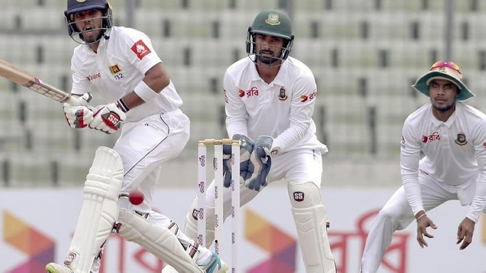 Kusal Mendis, left, topscored with 68, as bowlers dominated the first day of the second Test between Sri Lanka and Bangladesh in Dhaka.