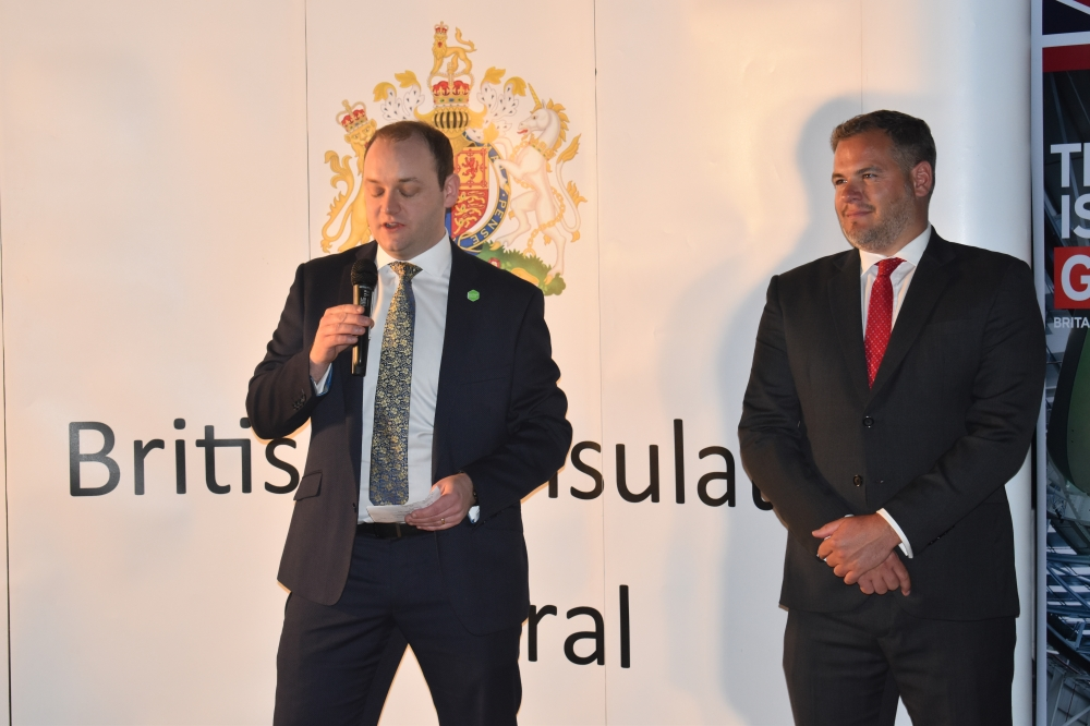 """British Consul General Barrie Peach, right, and Jaime Mccloskey, left, from """"Invest Northern Ireland"""" speaking during the event."""