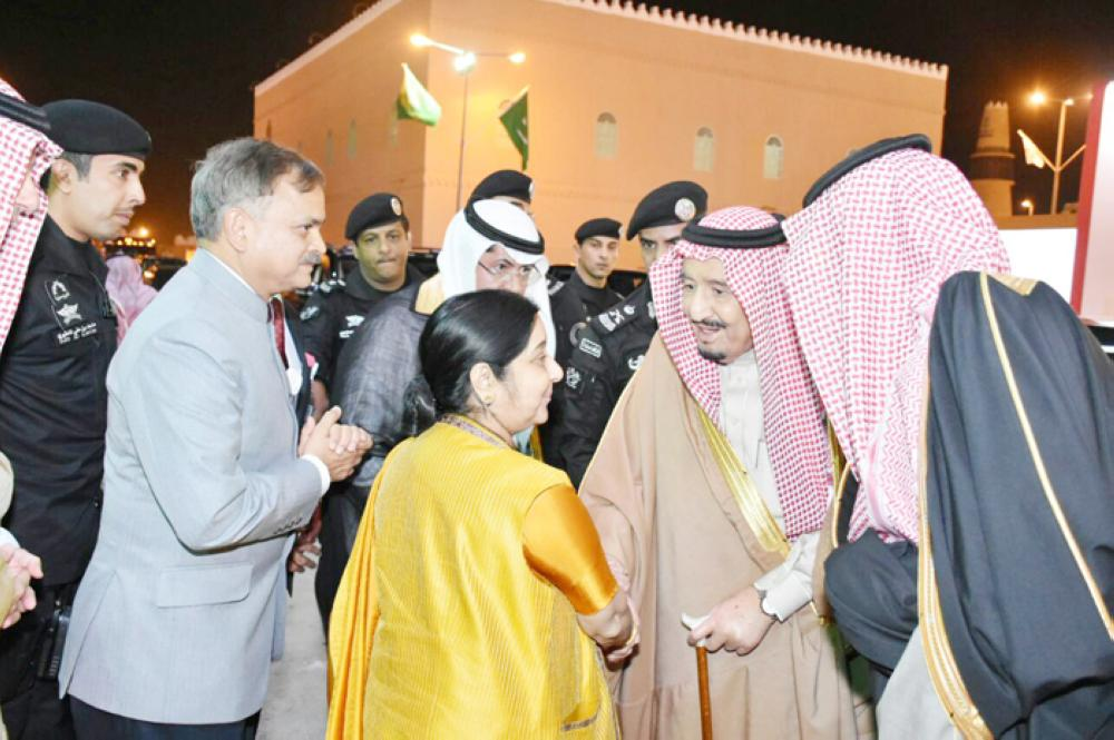 Custodian of the Two Holy Mosques King Salman receives India's Minister of External Affairs Sushma Swaraj at Janadriya on Wednesday. — Courtesy photos