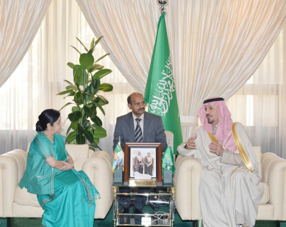 Minister of National Guard and Chairman of the Supreme Committee for the Festival Prince Khalid Bin Abdulaziz Bin Ayyaf receives Indian Foreign Minister Sushma Swaraj in Riyadh, Thursday. — SPA