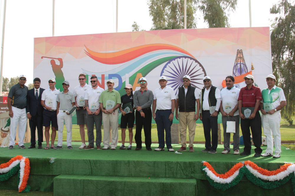 Indian Ambassador Ahmad Javed with all the winners in the first India Republic Day Open Golf Tournament in Riyadh. — Courtesy photo