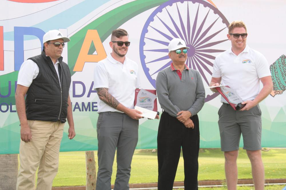 Ambassador Ahmad Javed and Deputy Chief of Mission Dr. Suhel Ajaz Khan with the winners Ciaran Argue and John Rogers.